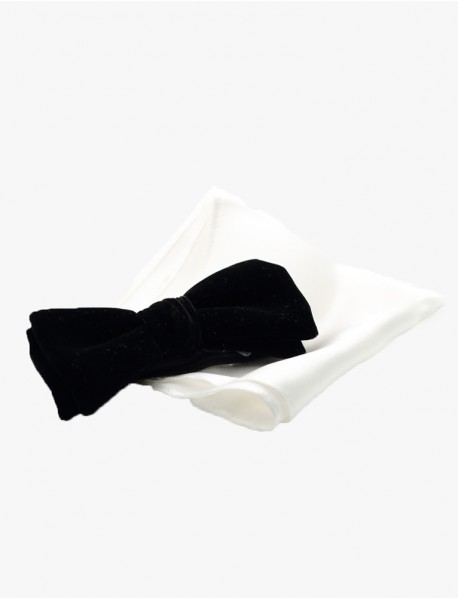Black Bow-Tie/White Pocket Square