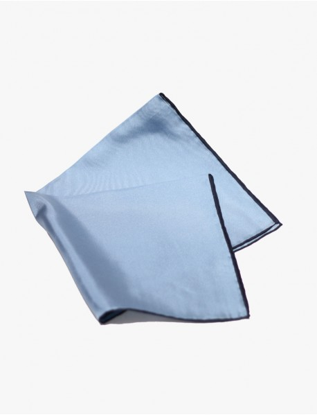 French Blue w/ Navy-Edge Silk Handrolled