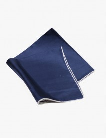 Navy w/White- Edge Silk Handrolled