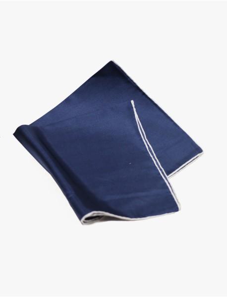 Navy w/White- Edge Silk Handrolled