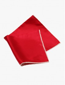 Red w/White- Edge Silk Handrolled