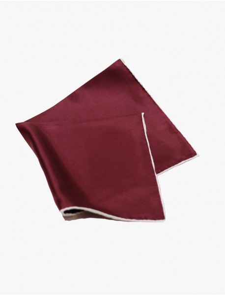 Burgundy w/White- Edge Silk Handrolled